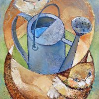 Two cats and watering can