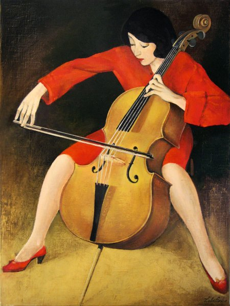 Woman playing cello of Róbert Berény