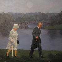 Queen Elizabeth & Prince Philip walking